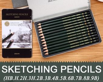 12 Pieces/Metal Box HB-9B Sketch Drawing Pencil Set Best Quality Non-toxic Standard Pencils for Office School Pencil TZ364