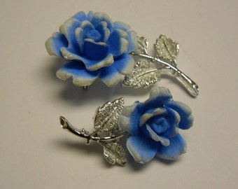 Blue Rose Brooch /Pin with Silver Stem and Leaves