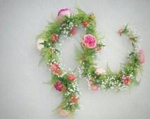 Floral Garland, Silk Flower Garland, Floral Table Runner, Wedding Garland, Table Runner, Centerpiece, Reception Flowers, Wedding Flowers