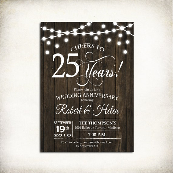 25th Wedding Anniversary Invitation / Wood Printable Rustic