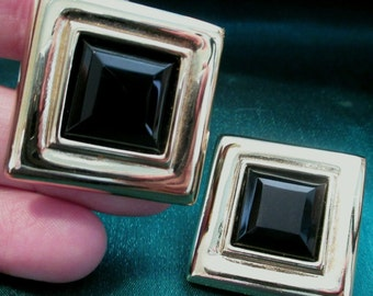 Vintage Givenchy earrings designer earring retro jewelry button earrings chunky earrings Square Goldtone clip on black onyx cabochon large