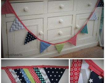 Bunting in bright retro/scandi style print,2 metresapprox.Red spotty bunting tape.great decoration.