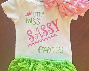Little Miss Sassy Pants || Outfit || Headband || Diaper cover || Onesie || Ready to Ship