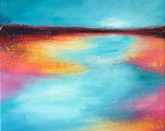 Pink shore original textured acrylic abstract landscape painting by Jane Palmer