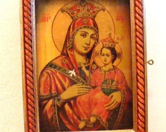 Holy Mother of God of Bethlehem,icon in Kyoto hand-painted of hot colors directly on solid wood
