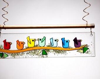 Rainbow Birds of Happiness Handmade Fused Glass Suncatcher Ornament