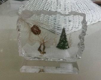 Lucite Christmas Glass Piece