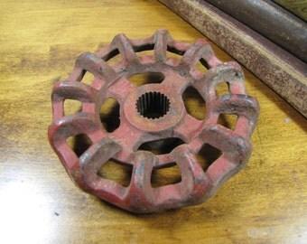 "Vintage Cast Iron Valve - Spigot Handle - 3 3/4"" - Painted Red"