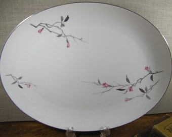 Vintage Cherry Blossom Serving Platter - Made in Japan