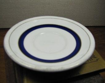 Vintage Shenango Blue and Gold Band Saucer
