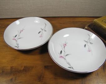 Cherry Blossom Fine China - Pattern 1067 - Shallow Dessert Bowls - Set of Two (2)