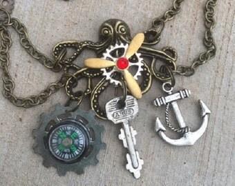Octopus Necklace, Steampunk Octopus Necklace, Victorian Necklace, Vintage Key Necklace,