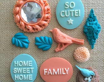 Bird themed magnets - Home sweet home - bird lover - birdwatching - kitchen magnets - office decor - coral and teal decor
