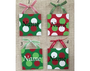 Christmas ornament - canvas ornament - mini canvas - personalized ornament - teacher gift - secret santa gift - red and green ornament