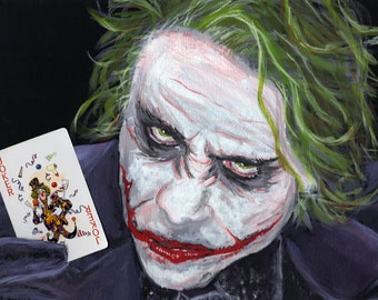 Joker DC Villain 8x10 Art Print Heath Ledger DC Comics Wall Room Decor Wall Art The Dark Knight Batman's Villain