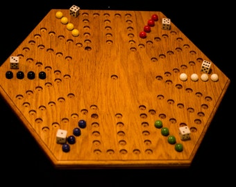 Handmade Oak  6 Player Aggravation Board (5 holes by 6 holes)