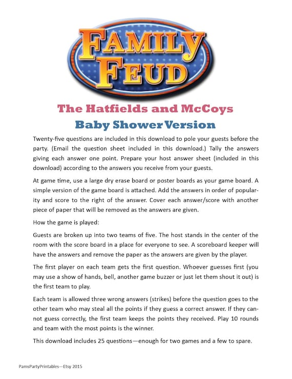 Baby shower family feud printable game hatfields and