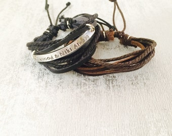 Adjustable real leather and string personalised male bracelet