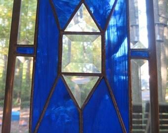 BLISSFULLY BLUE --stained glass panel window suncatcher