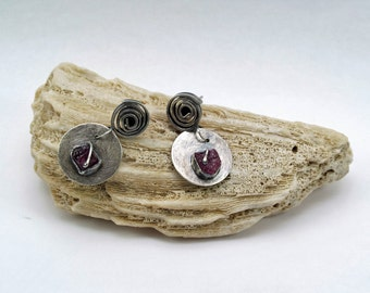 Oxidised sterling silver and rough Rubies. Handmade.