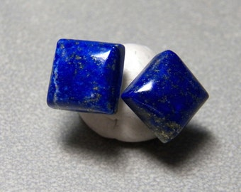6mm Square Blue Lapis Gemstone Post Earrings with Sterling Silver