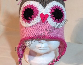 Crochet pink and grey with flower rhinestone owl hat cap beanie