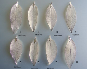 SALE 15% OFF. 925 Sterling Silver  Electroplated Natural Leaf, Leaf Pendant, Plated Natural Real Leaf