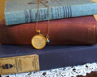 Book Nook, Book Quote Necklace, Nicholas Nickleby Quote Necklace, Charles Dickens Quote, Literature Quote Necklace, MarjorieMae