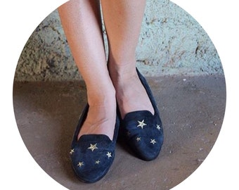 Navy Blue Star Gypsy Loafers (Size 8)