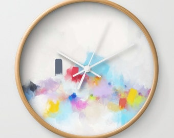 Wooden Clock, Modern Wall Clock, Modern Clock, Black and White Clock, Art Clock