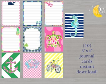 Preppy Journal Cards //Project Life //Pocket Scrapbooking// Lilly Pulitzer Inspired // Filler Cards// Instant Download //Planner Accessories