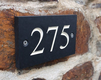 Engraved 3 Digit House Number 100-999 - Slate Alternative made from recycled plant pots