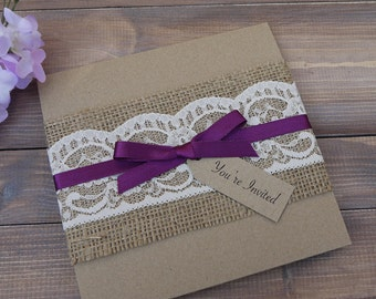 Rustic Wedding Invitation, Hessian and Lace Wedding Invite