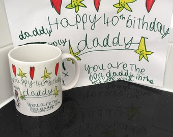 Drawing on a Mug - Personalized Gift - Personalised Gift - Fathers Day - Best Friend - Birthday Gift