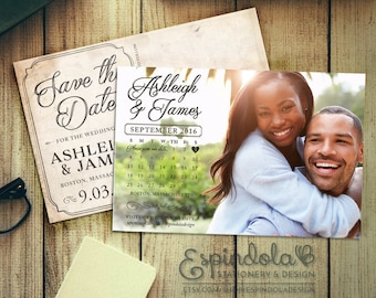 Save the Date Postcards with Calendar