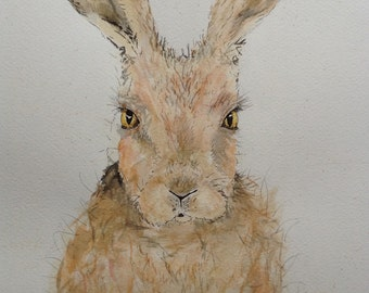 Alice Hare Original Watercolour Portrait A3