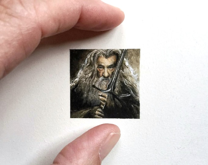 "Print of miniature painting of Gandalf. 1 1/4"" x 1 1/4"" print of Lord of the Rings Gandalf on 5"" x 5"" german etching paper."