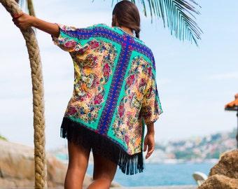 Colocsty Azul Fringe Kimono / Boho /Festival Clothing/  Cover Up