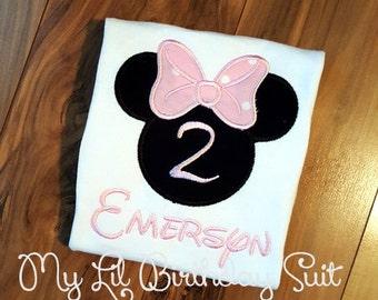 Minnie Birthday Shirt - Applique Minnie Mouse