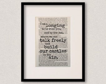 """Dracula quote print - Romantic quote - Engagement gift - Wedding gift - """"I am longing to be with you, and by the sea..."""""""