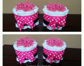 Pink and black polka dot mini diaper cakes, Polka dot diaper cakes, baby girl diaper cakes, hot pink diaper cakes, baby shower centerpieces