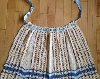 Crochet 1950's Style Entertaining Blue and White Apron ~ Retro  Apron ~ Vintage Linens ~Shabby and Chic Style Apron~Kitchen