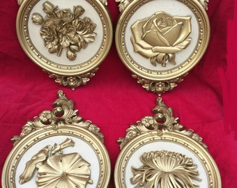 Gold Wall Decor, Floral Plaques, Round Decorations, Rose Mums,  Vintage Hangings, On Sale, Modern Art Deco