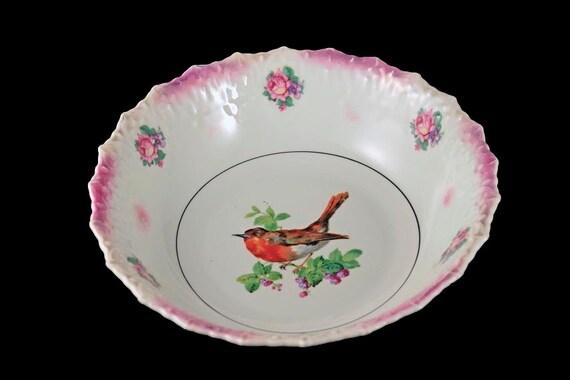 Bavaria Bowl, Scalloped Edges, Bird Center, Floral Pattern, Pink Embossed Edging, Centerpiece, Porcelain