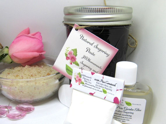 Sugaring Paste & Natural Pink Rose Petal Sugar Scrub Bundle