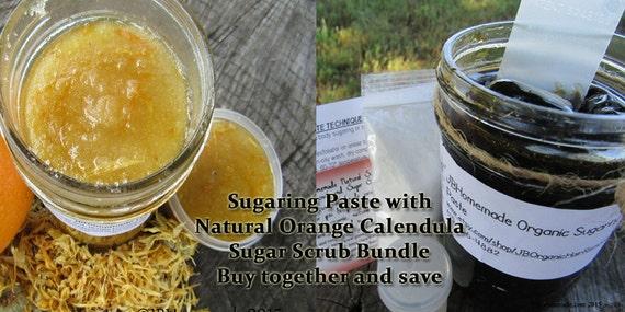Sugaring Paste & Natural Orange Calendula Sugar Scrub Bundle