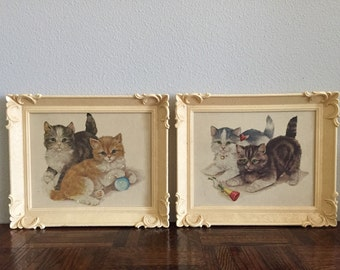 SET OF 2 / Cat Art / Kitten Paintings / Kawaii / Kitsch / Nursery / Set of Two