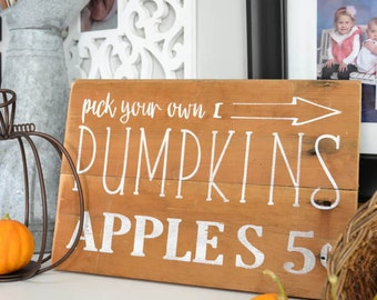 Hand Painted Fall Sign | Pumpkins and Apples Sign on Antique Shiplap