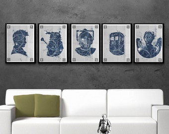 Doctor WHO 5 poster set TARDIS poster, Weeping Angel, Dalek, Cyberman print, TV serie prints