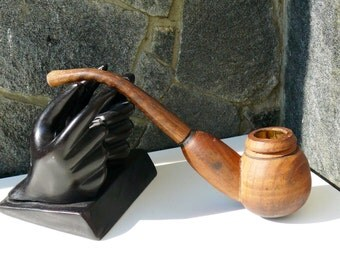 Vintage Brown Carved wooden Pipe, vintage Tobacco Smoking Pipe, Collectible, gift for him, wooden pipe